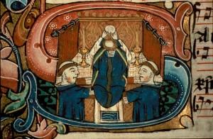 Alba z parurami na średniowiecznej miniaturze