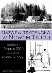 Msza w Nowym Targi 2015-03-15 - plakat